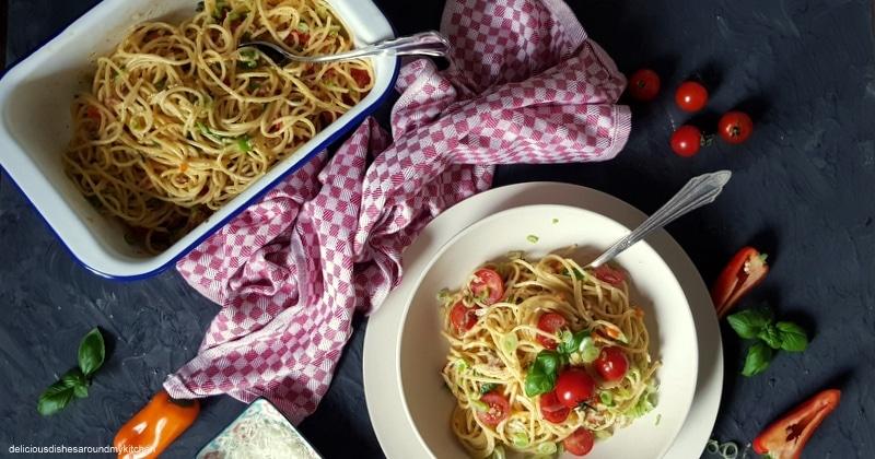 Spaghetti Carbonara...meine Lieblings- Pasta mit einer Portion Frühling