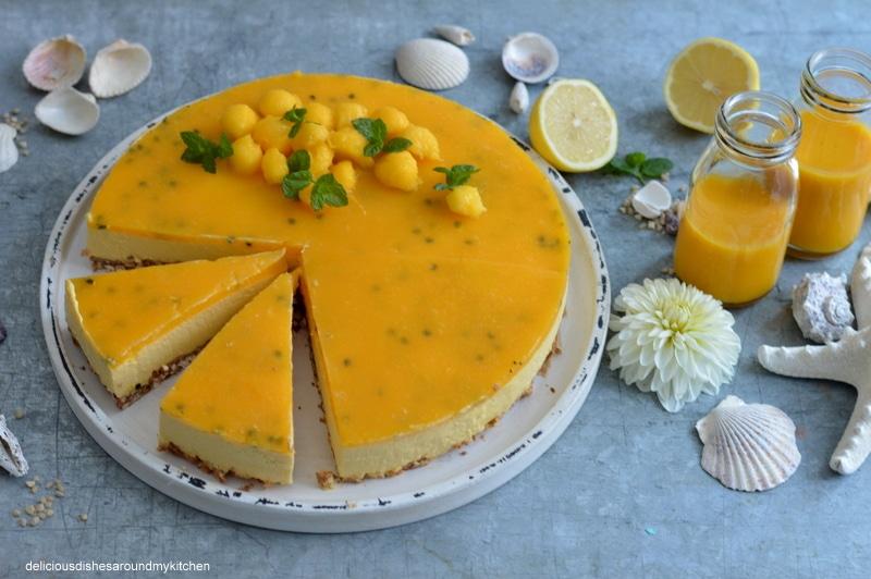 Sommerlicher - Mango- Maracuja- Smoothie- Cheesecake auf Puffreisboden